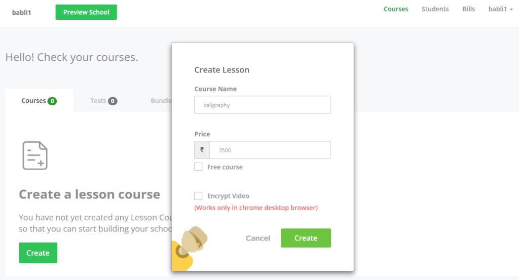 Online course building procedure