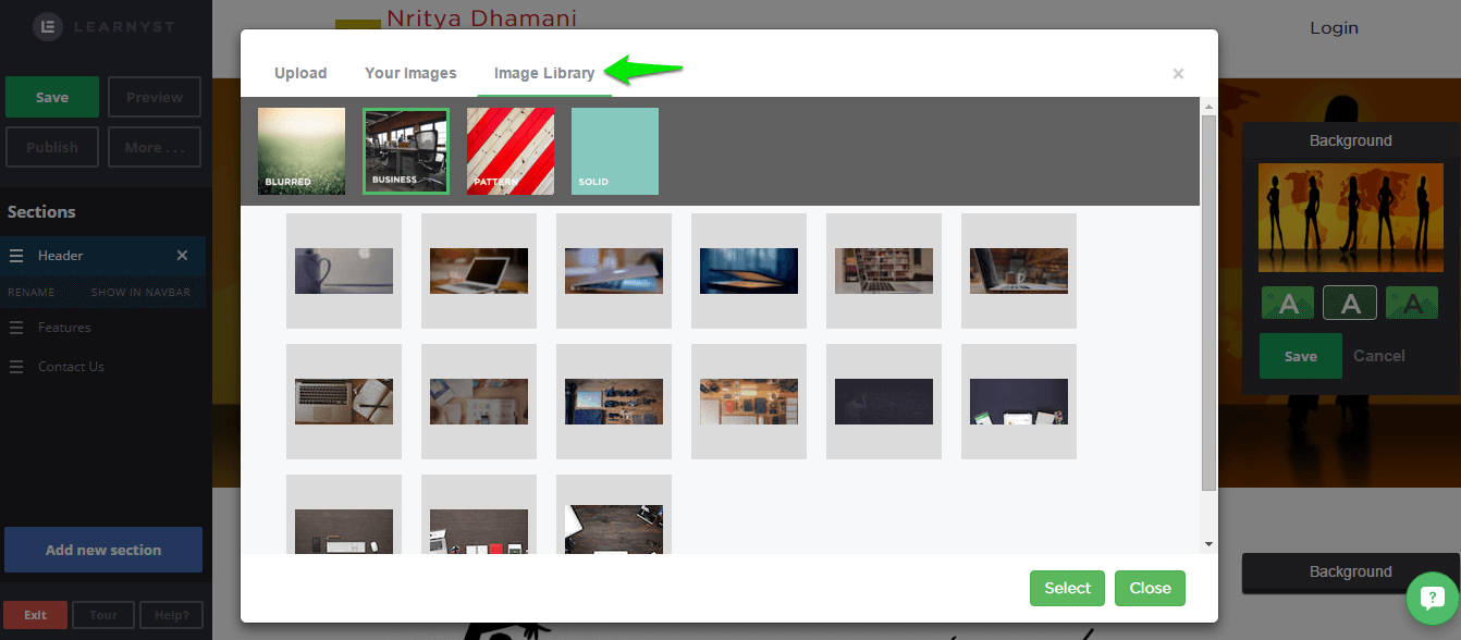 image libarary - Learnyst website builder