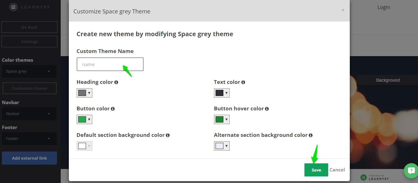 custom theme - Website Builder