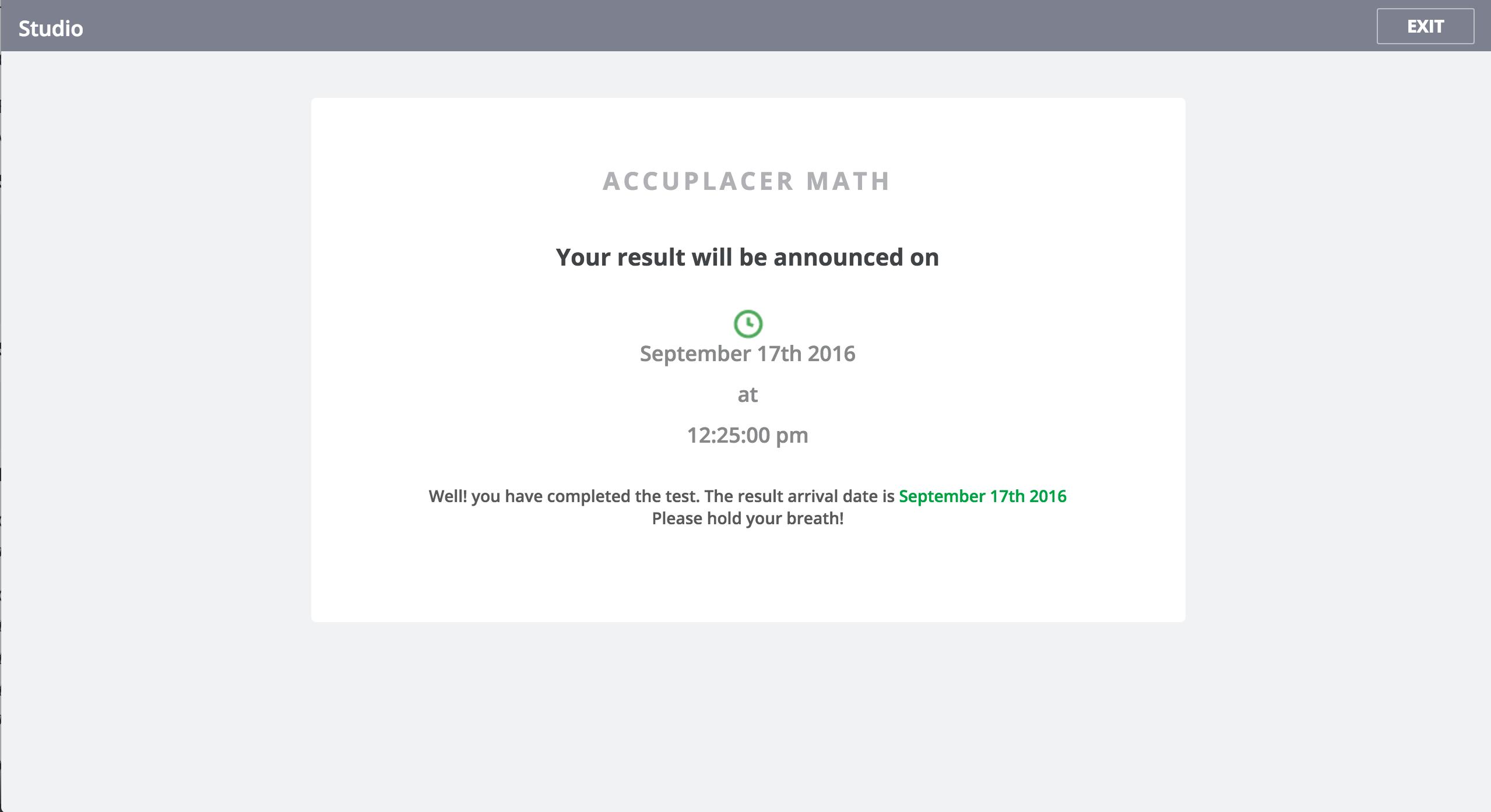 Result scheduled - Student