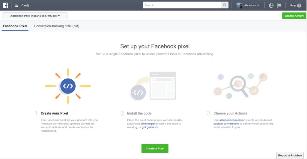 Facebook pixel page