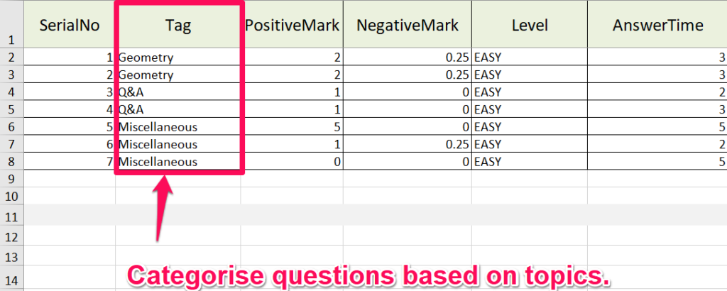 inserting questions in excel